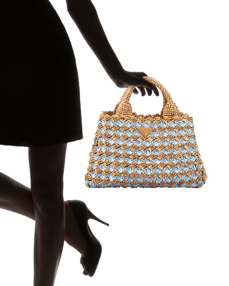 Bi-Color Crocheted Raffia Tote