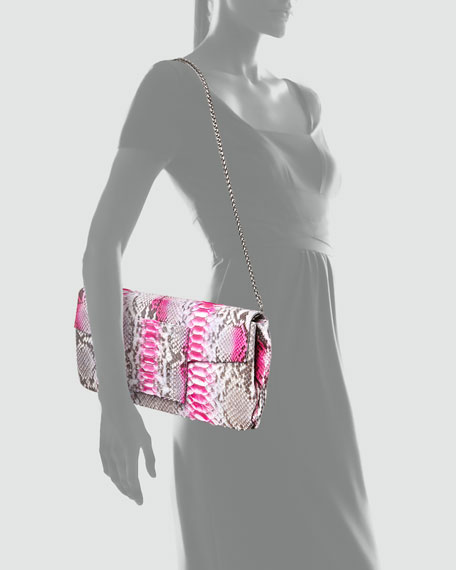 Leora Python Clutch Bag, Pink Berry