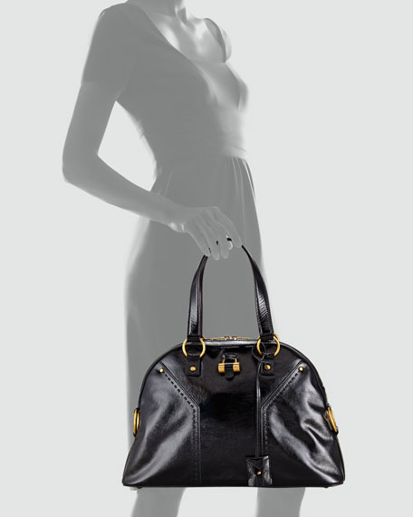 Muse Large Patent Leather Dome Satchel Bag