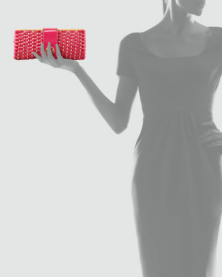 Woven Patent & Straw Clutch Bag