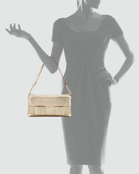 ruby bow monette shoulder bag, gold