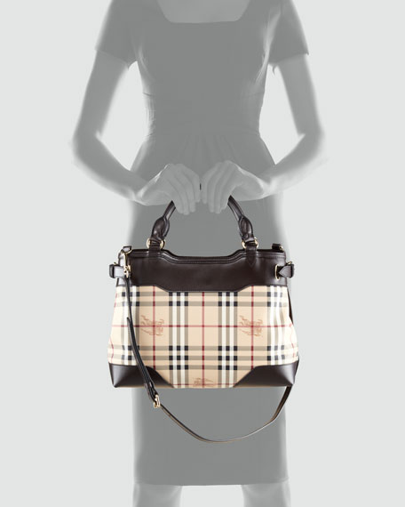 Leather-Trim Check Satchel Bag