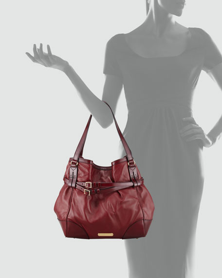 Medium Hobo Bag, Red Claret
