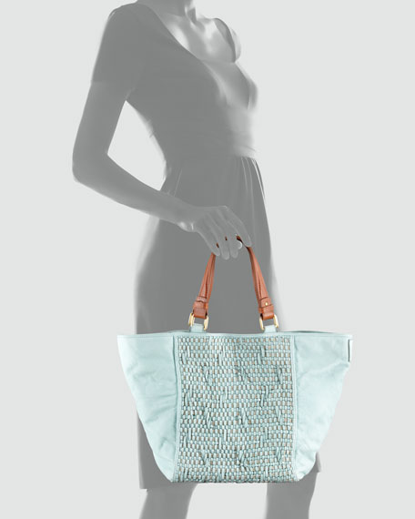 Woven Jute & Leather Tote Bag