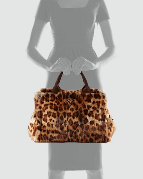 Leopard-Print Fur Tote Bag