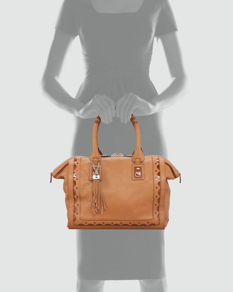 Patent-Trimmed Leather Satchel Bag