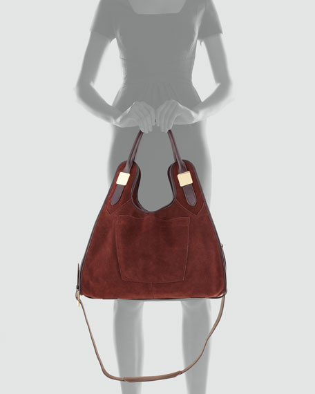 Lucas Medium Suede Shopper Bag, Sella