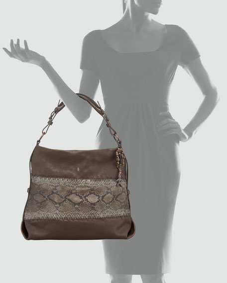 Python and Leather Hobo Bag