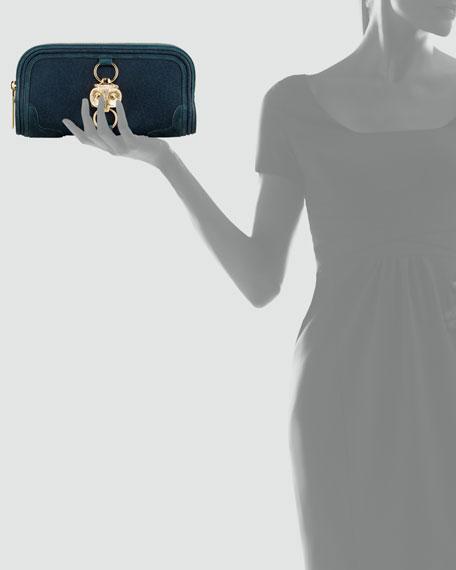 Owl Ornament Suede Clutch Bag