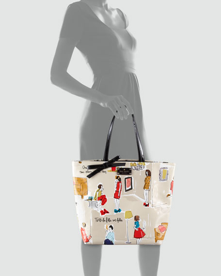 bon printed patent leather shopper
