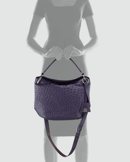 Allegra Ostrich Medium Hobo Bag, Purple