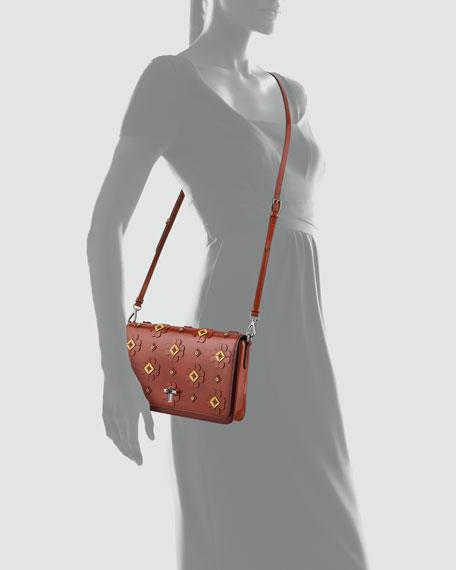 Floral-Applique Spazzolato Shoulder Bag
