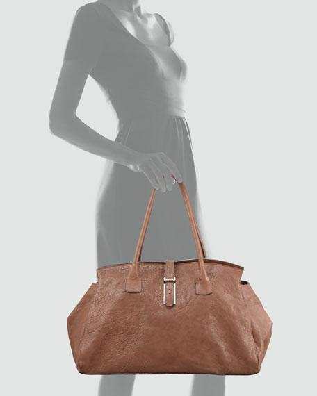 Pebbled Leather East-West Satchel Bag