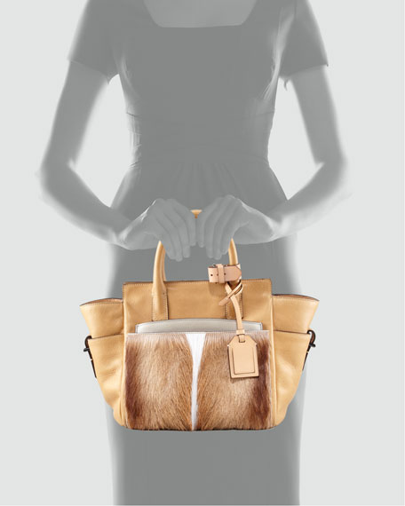 Atlantique Mini Fur/Leather Tote Bag, Spring