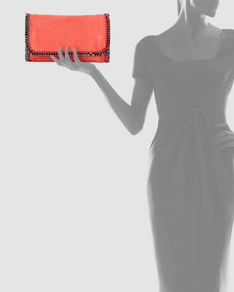 Falabella Faux-Leather Fold-Over Clutch Bag, Amaryllis