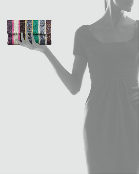 Stripe-Beaded Flap-Top Clutch Bag