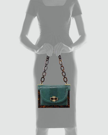 Lizard-Embossed Small Resin Frame Bag, Green