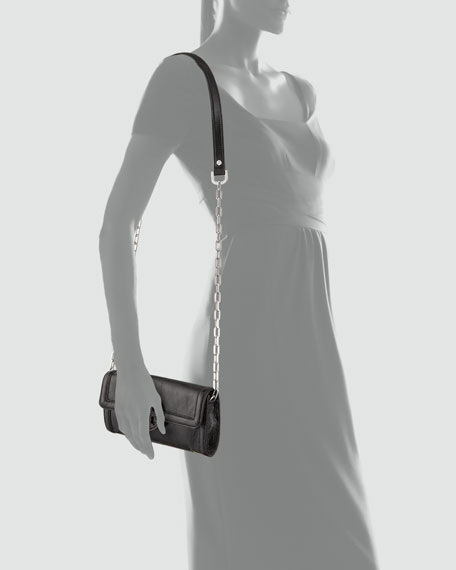 Amanda East-West Patent Clutch Bag, Black