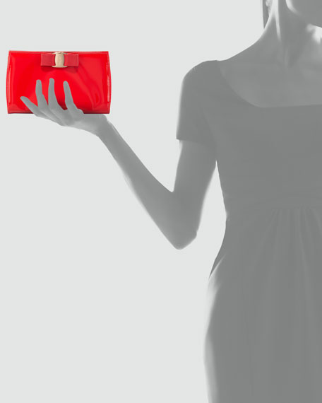 Miss Vara Patent Clutch Bag, Red