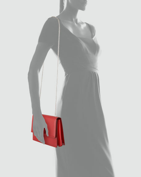 Vara Ginny Patent Flap Shoulder Bag, Red
