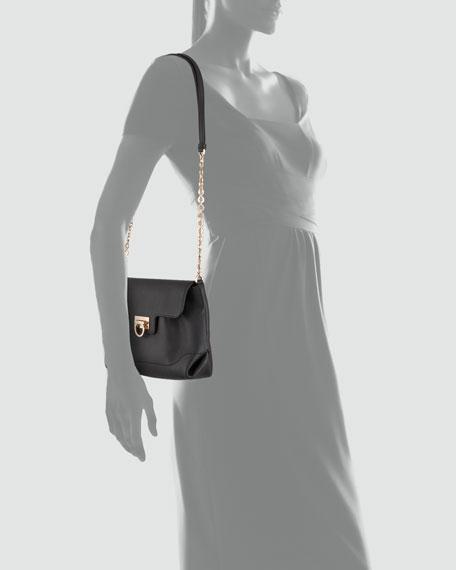 Amelie Soft Leather Shoulder Bag, Black