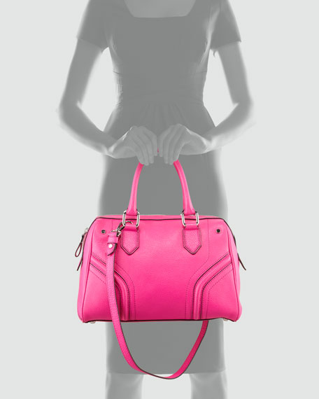 Zoey Pebbled Leather Satchel Bag