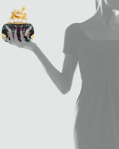 Apple & Hummingbird Knuckle-Duster Embroidered Clutch Bag