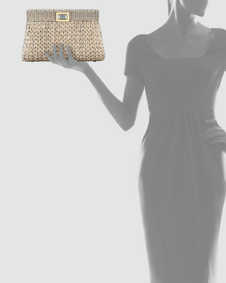 Amo Large Woven Clutch Bag, Paloma Gray