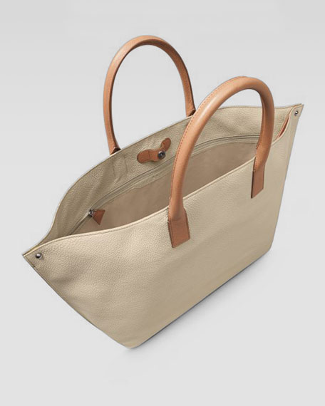 Ai Tricolor Cervo Medium Tote Bag, Stucco/Cordovan