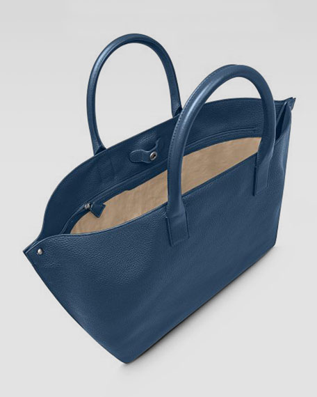 Ai Cervo Medium Leather Messenger Bag, Pacific