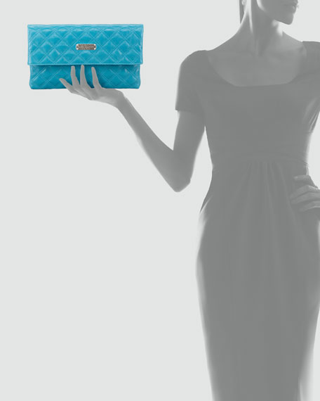 Eugenia Large Quilted Lambskin Clutch Bag, Turquoise