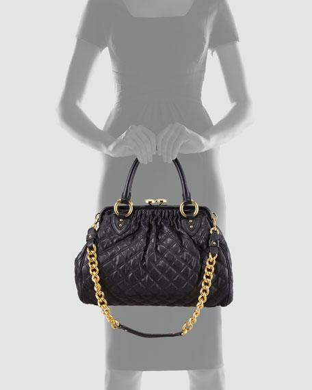 Stam Quilted Leather Satchel Bag, Black