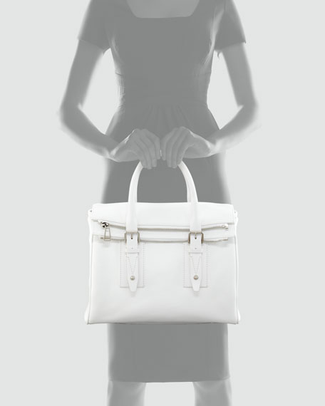 Dorchester 36 Leather Satchel Bag, Optic White