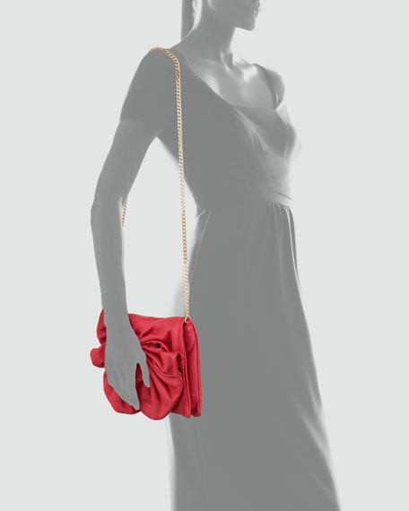 Bow Clutch Shoulder Bag, Cherry