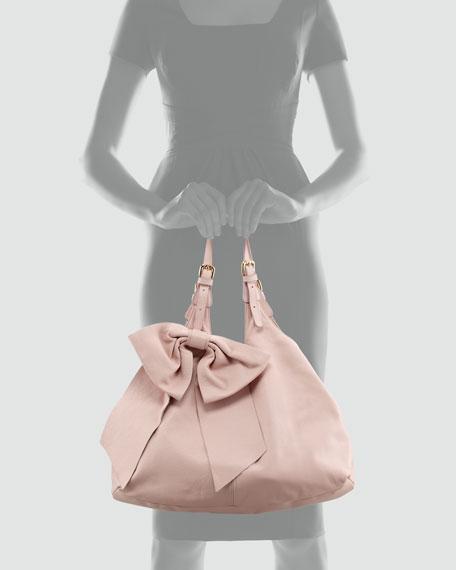 Large-Bow Hobo Bag, Cammeo