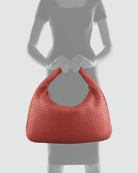 Veneta Large Woven Hobo Bag, Coral