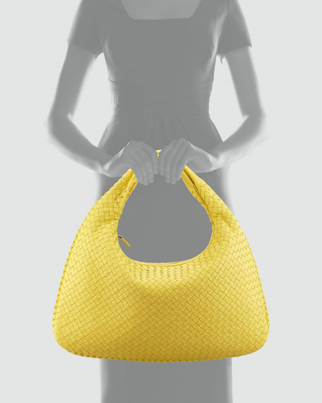 Veneta Large Woven Hobo Bag, Yellow