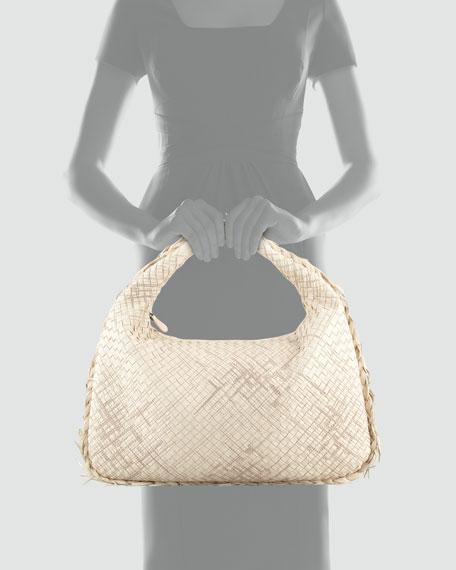Large Veneta Hobo Bag with Fringe, Off White