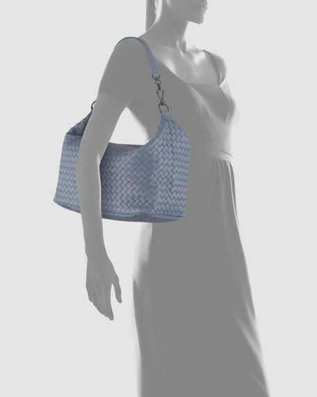 Medium Woven Leather Shoulder Bag, Blue