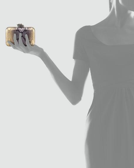 Marley Snake-Embossed Clutch Bag, Gold