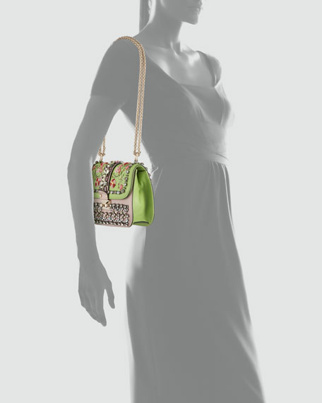 Glam-Lock Small Flap Bag, Poudre/Pop Apple