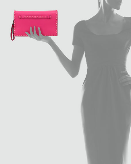 Rockstud Flap Clutch Bag, Pop Fuchsia