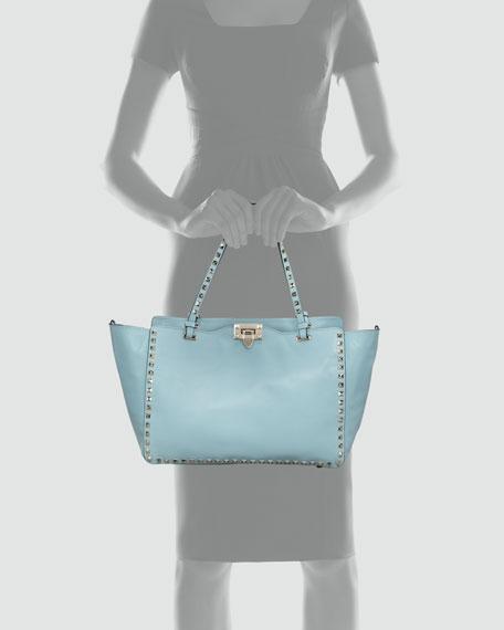 Rockstud Medium Tote Bag, Soft Turquoise