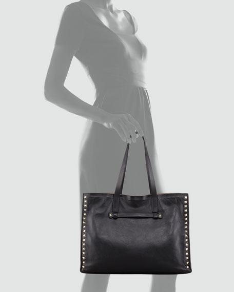 Rockstud Medium Tote Bag, Nero
