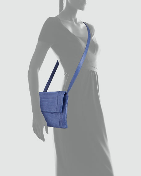 Crocodile Fold-Over Crossbody Bag, Blue