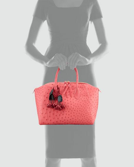 Ostrich/Crocodile Satchel Bag, Pink