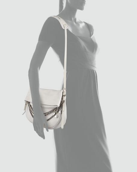 Biker Chain-Detailed Shoulder Bag, Pearl Gray