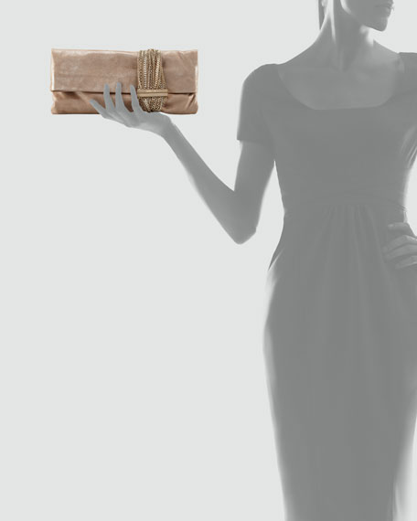 Chandra Chain Shimmer Suede Clutch Bag, Sand