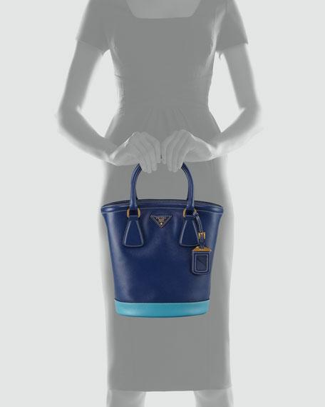 Saffiano Bicolor Bucket Bag, Bluette/Turchese