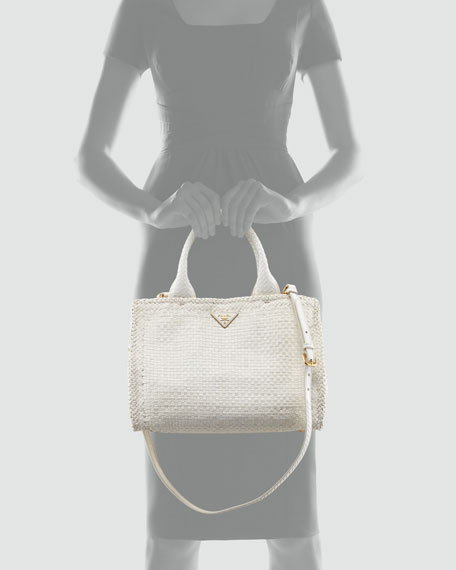 Madras Small Tote Bag, Avorio